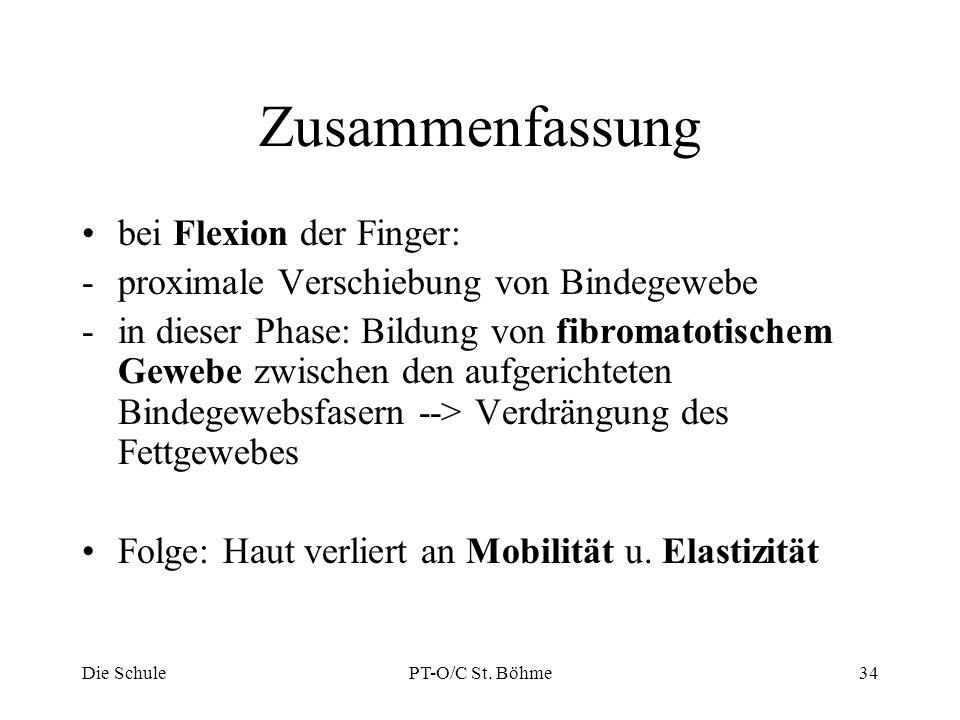 Zusammenfassung bei Flexion der Finger: