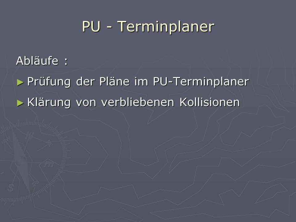 PU - Terminplaner Abläufe : Prüfung der Pläne im PU-Terminplaner