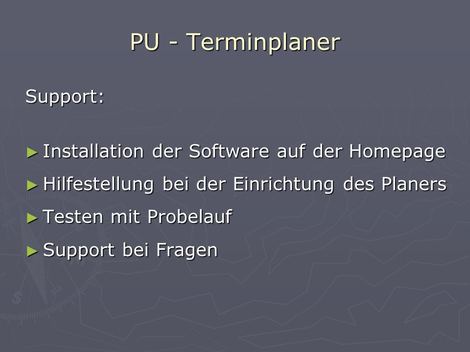 PU - Terminplaner Support: Installation der Software auf der Homepage
