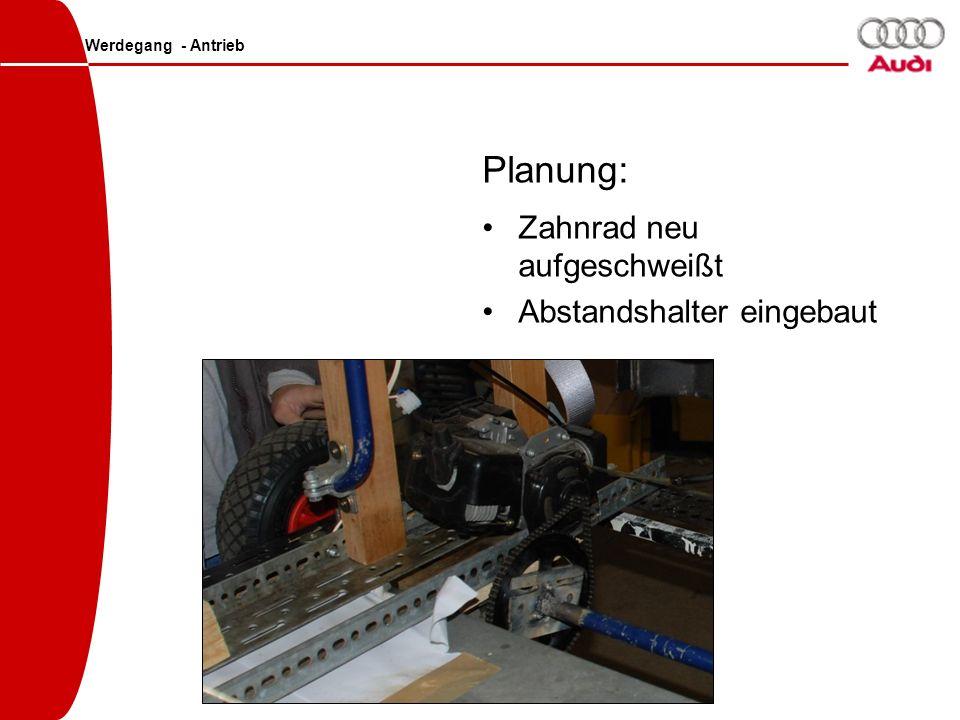 Planung: Zahnrad neu aufgeschweißt Abstandshalter eingebaut