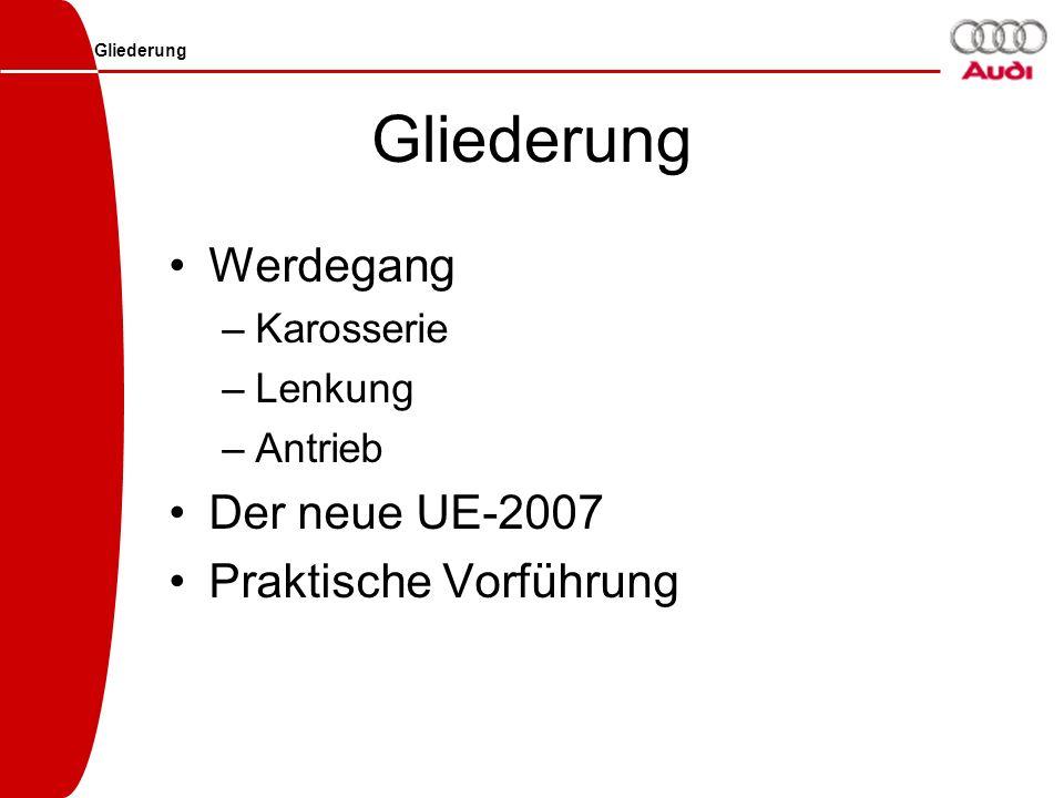 Gliederung Werdegang Der neue UE-2007 Praktische Vorführung Karosserie