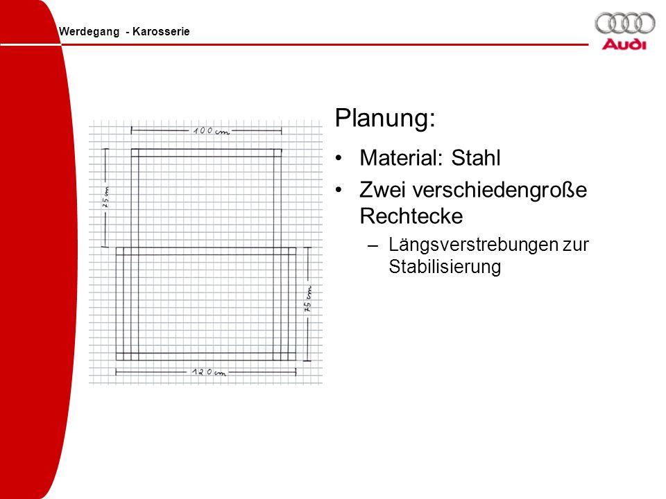 Planung: Material: Stahl Zwei verschiedengroße Rechtecke