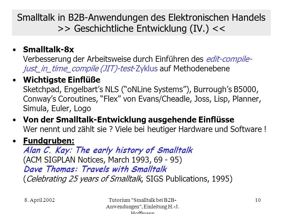 Tutorium Smalltalk bei B2B-Anwendungen , Einleitung H.-J. Hoffmann
