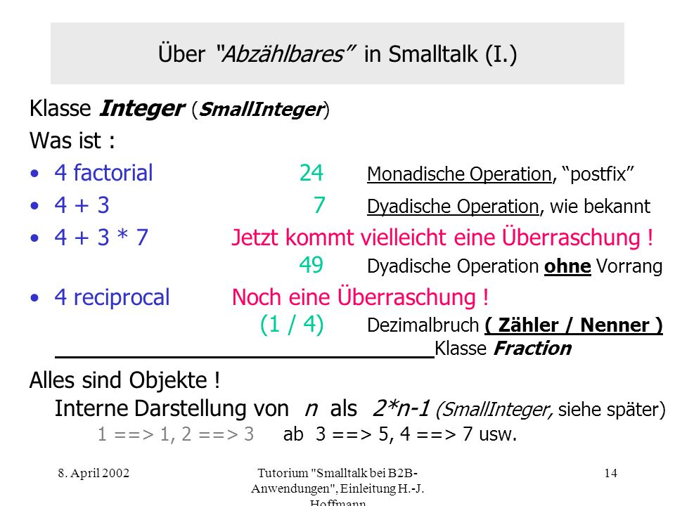 Über Abzählbares in Smalltalk (I.)