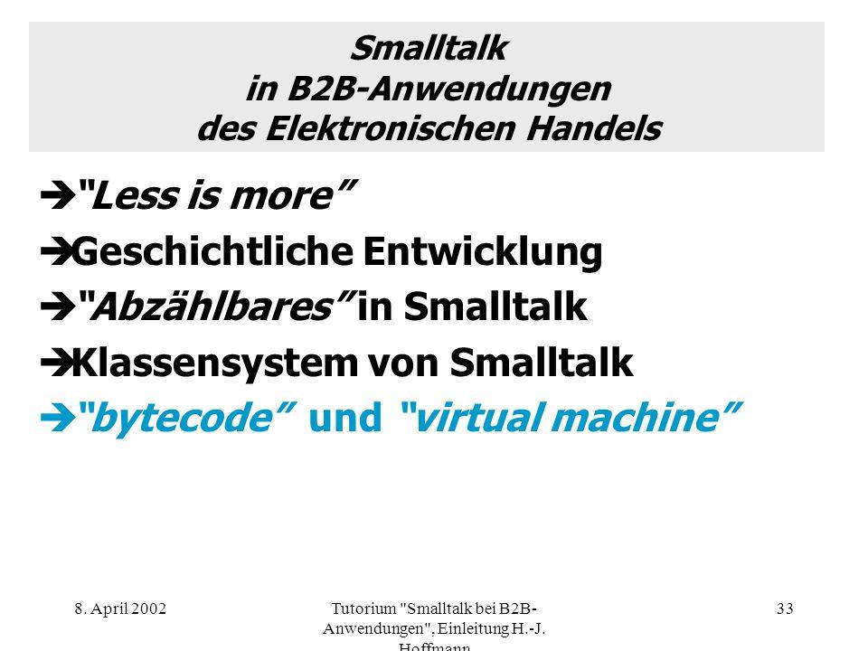 Smalltalk in B2B-Anwendungen des Elektronischen Handels