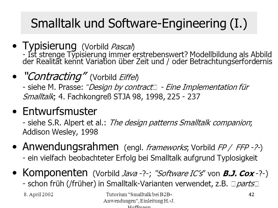 Smalltalk und Software-Engineering (I.)