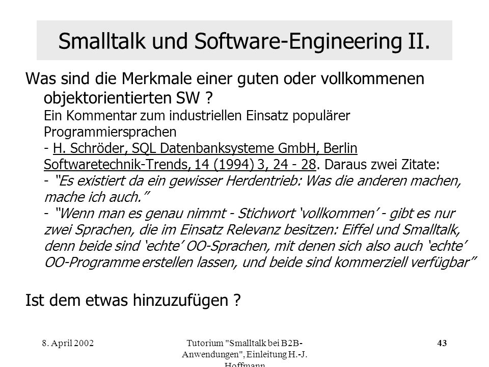 Smalltalk und Software-Engineering II.