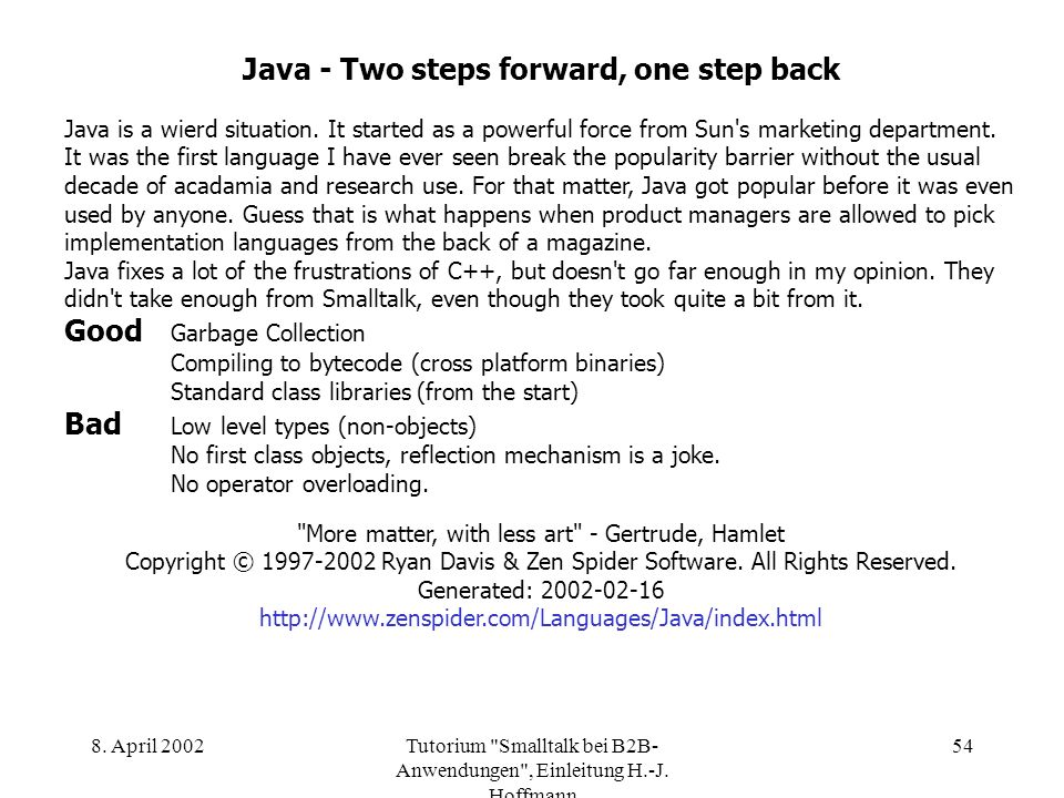 Java - Two steps forward, one step back
