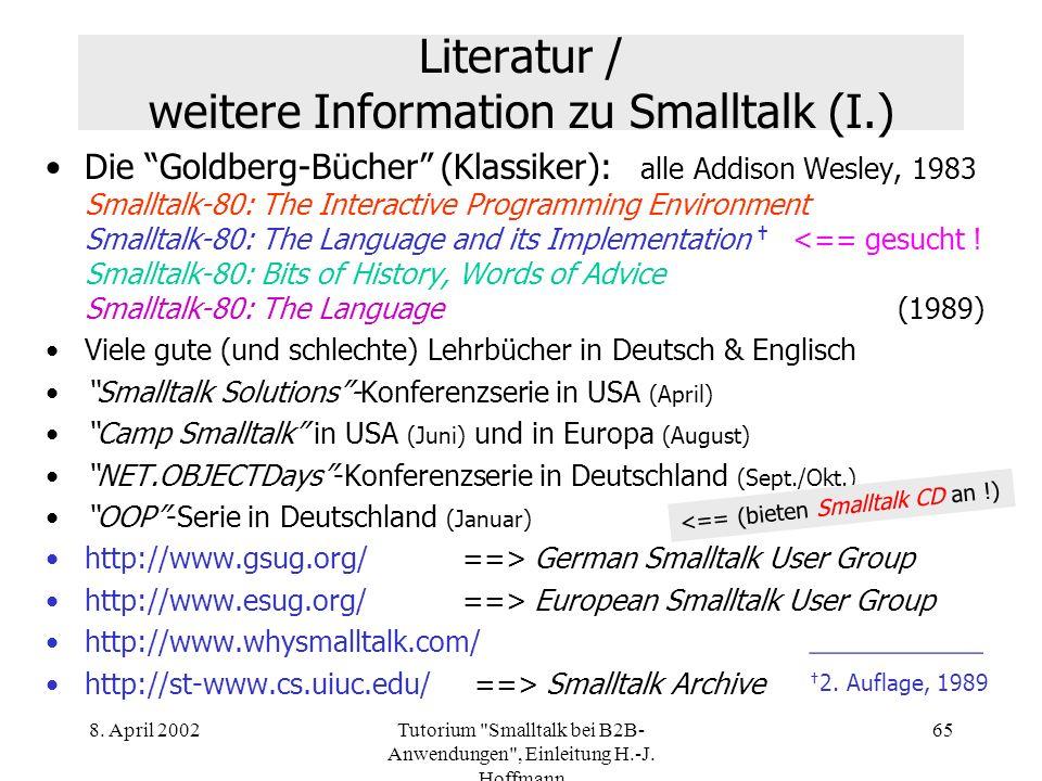 Literatur / weitere Information zu Smalltalk (I.)