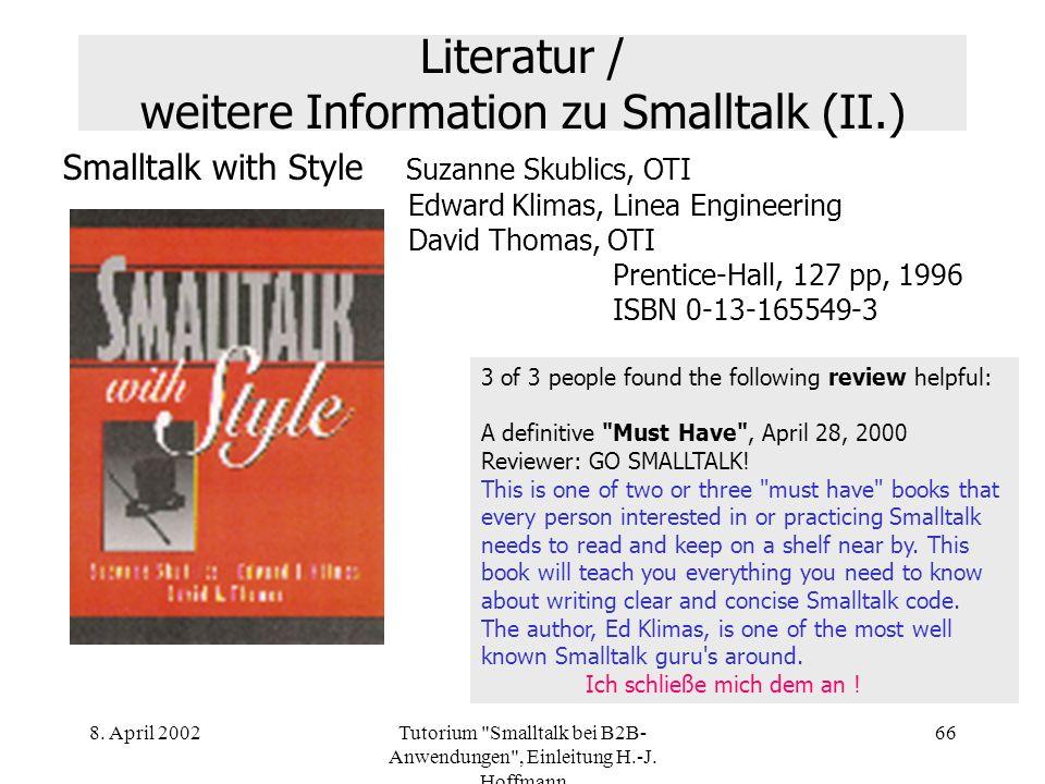 Literatur / weitere Information zu Smalltalk (II.)
