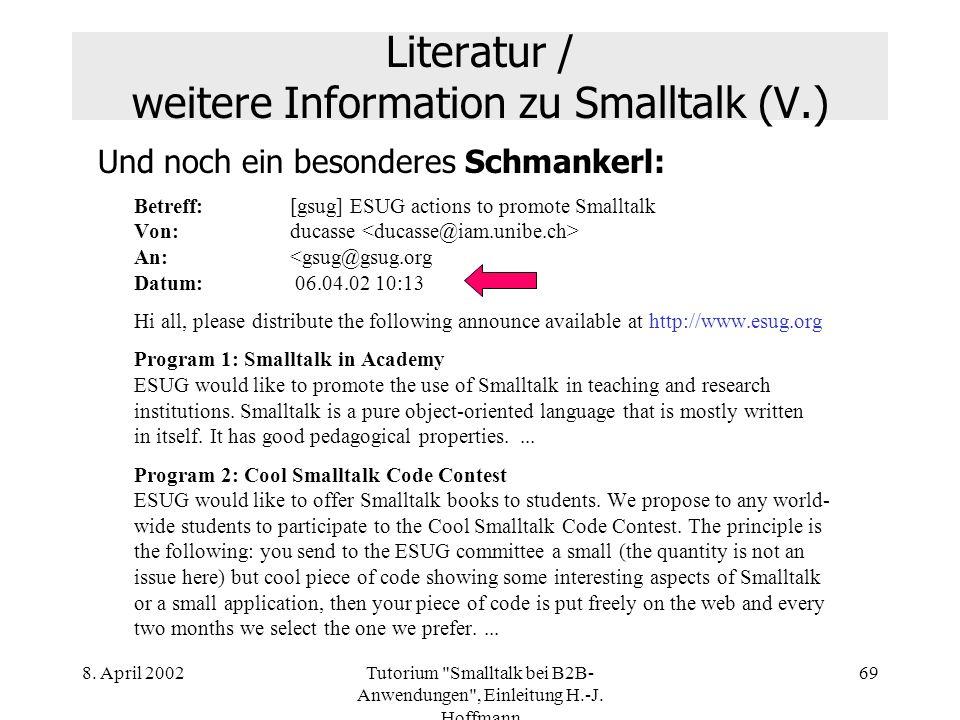 Literatur / weitere Information zu Smalltalk (V.)