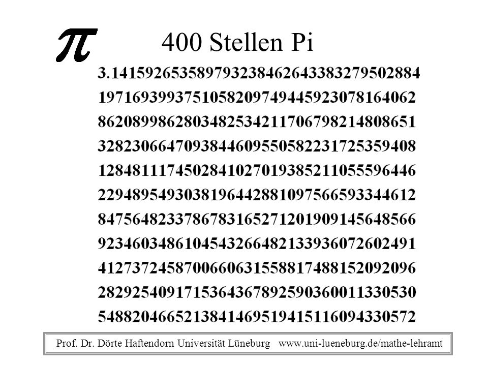 400 Stellen Pi Prof. Dr. Dörte Haftendorn Universität Lüneburg www.uni-lueneburg.de/mathe-lehramt