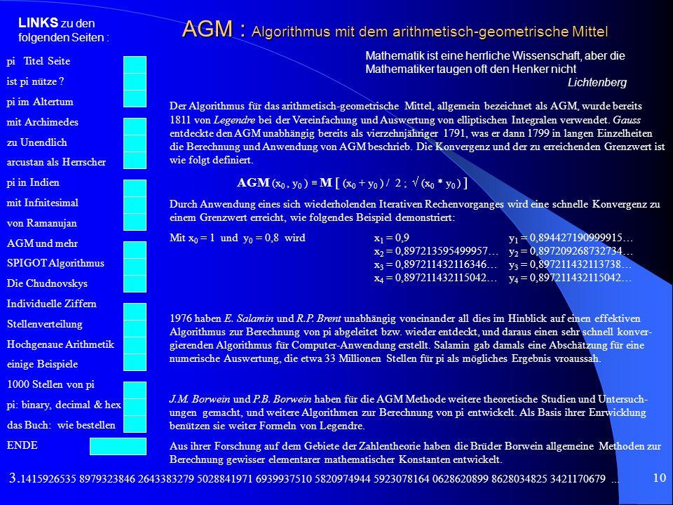 AGM : Algorithmus mit dem arithmetisch-geometrische Mittel