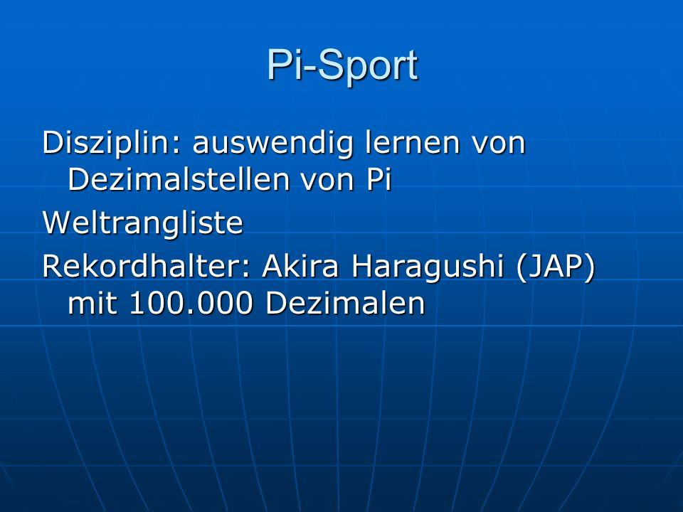 Pi-Sport Disziplin: auswendig lernen von Dezimalstellen von Pi