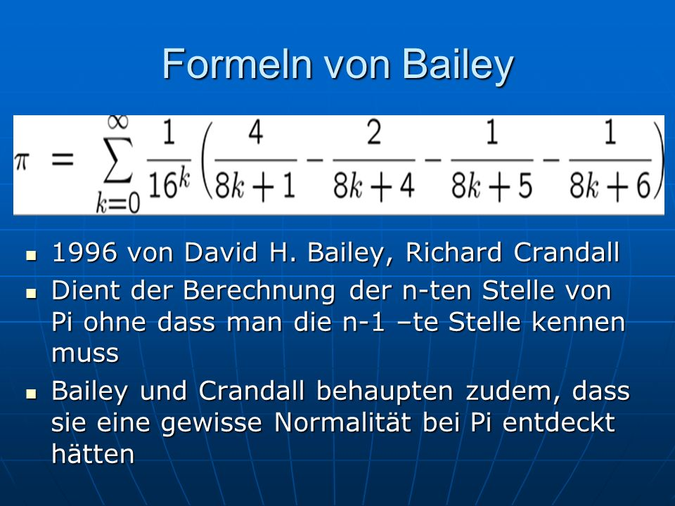 Formeln von Bailey 1996 von David H. Bailey, Richard Crandall