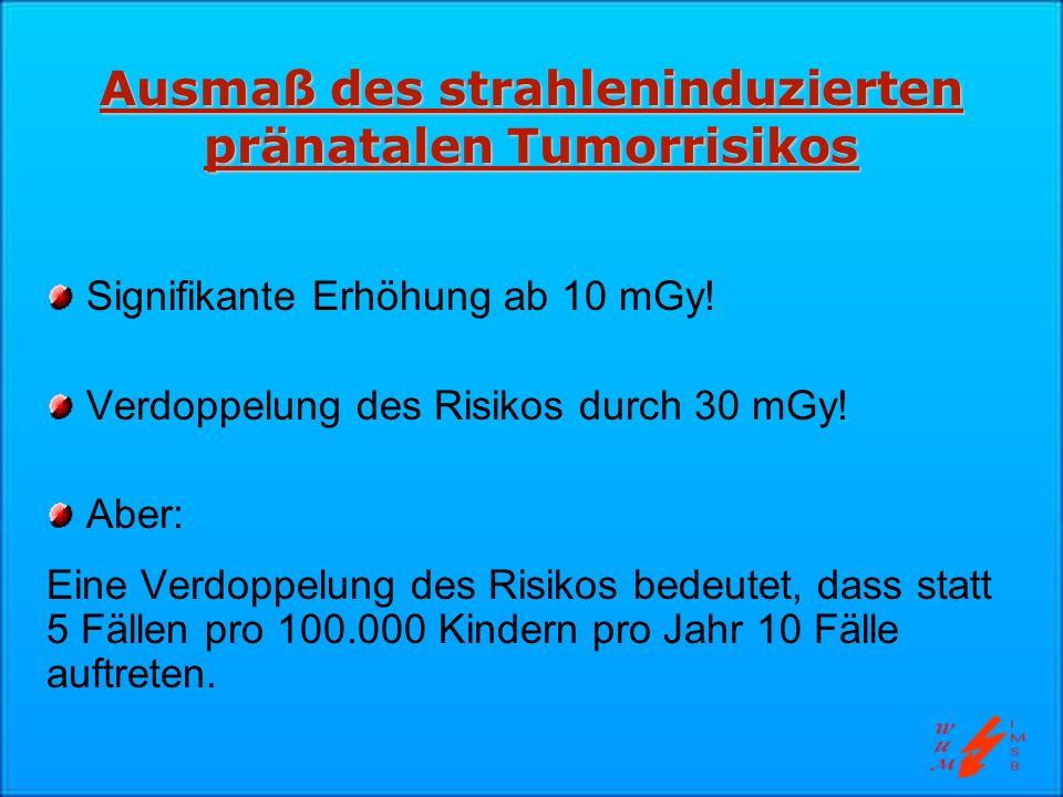 Ausmaß des strahleninduzierten pränatalen Tumorrisikos