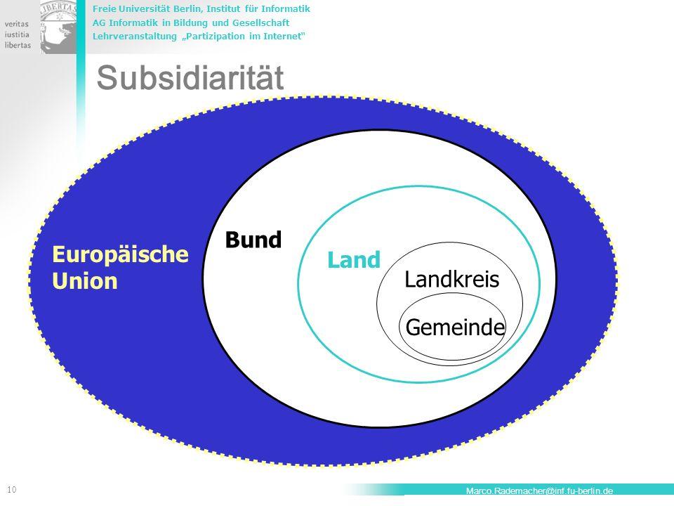 Subsidiarität Bund Europäische Land Union Landkreis Gemeinde