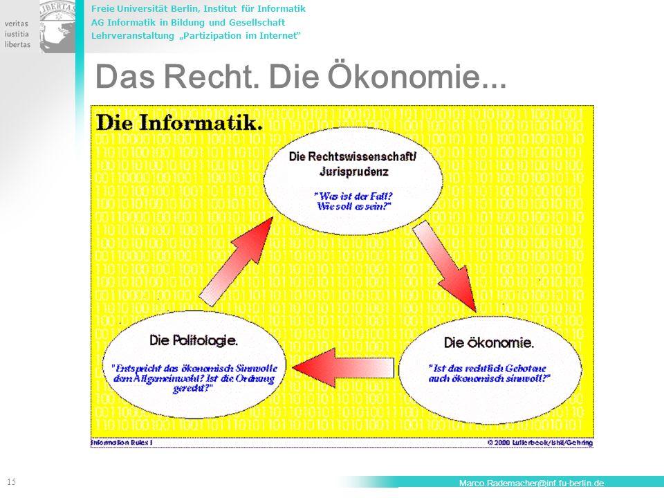 Das Recht. Die Ökonomie... Marco.Rademacher@inf.fu-berlin.de