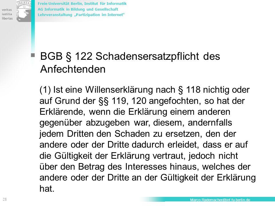 BGB § 122 Schadensersatzpflicht des Anfechtenden
