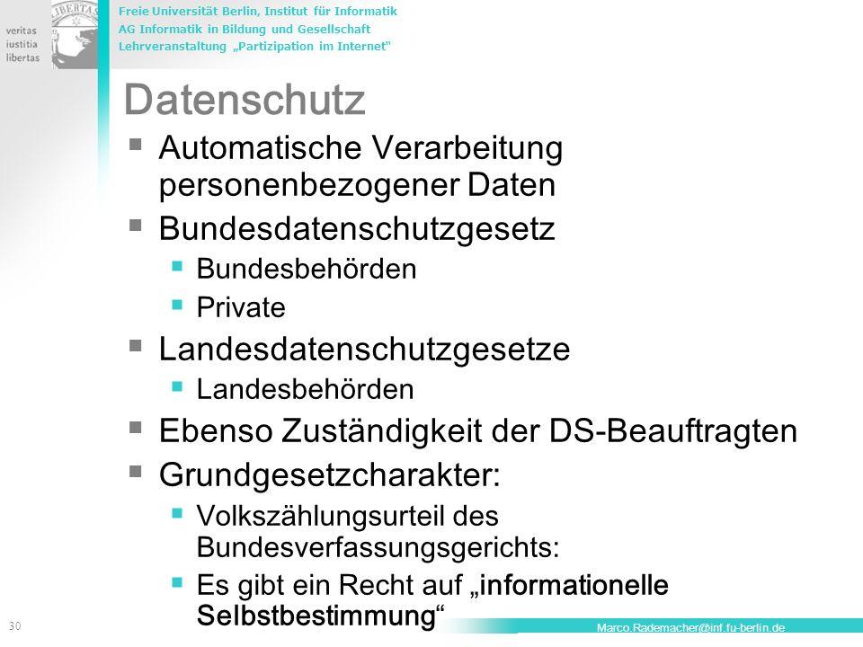 Datenschutz Automatische Verarbeitung personenbezogener Daten