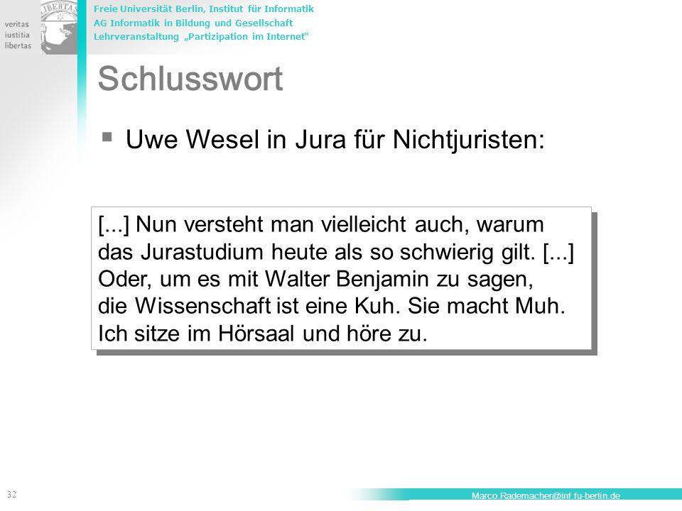 Schlusswort Uwe Wesel in Jura für Nichtjuristen: