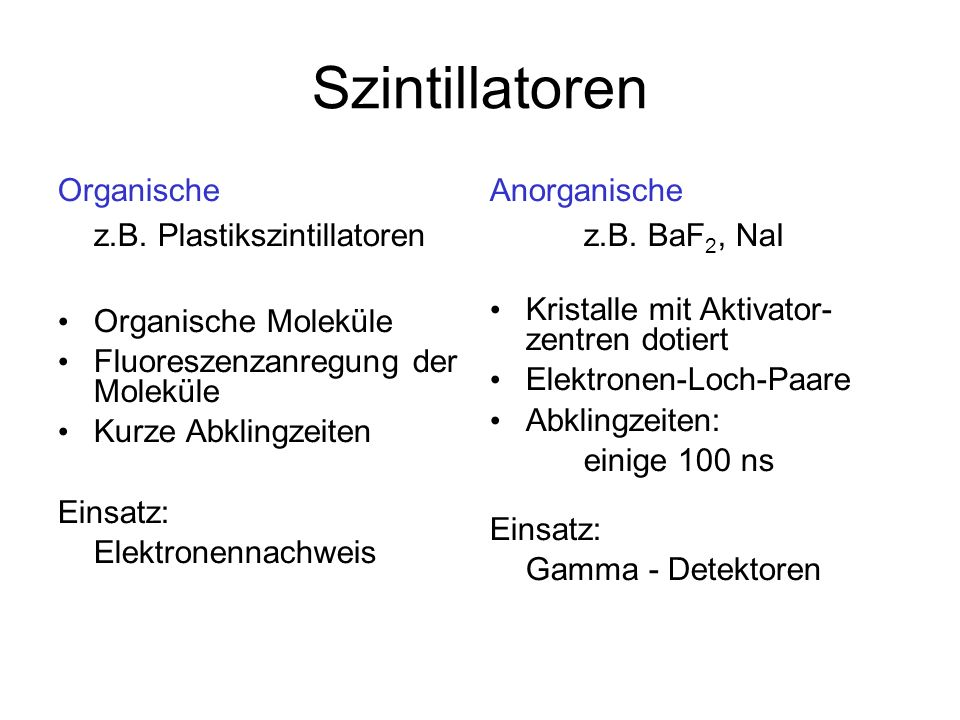 Szintillatoren Organische z.B. Plastikszintillatoren