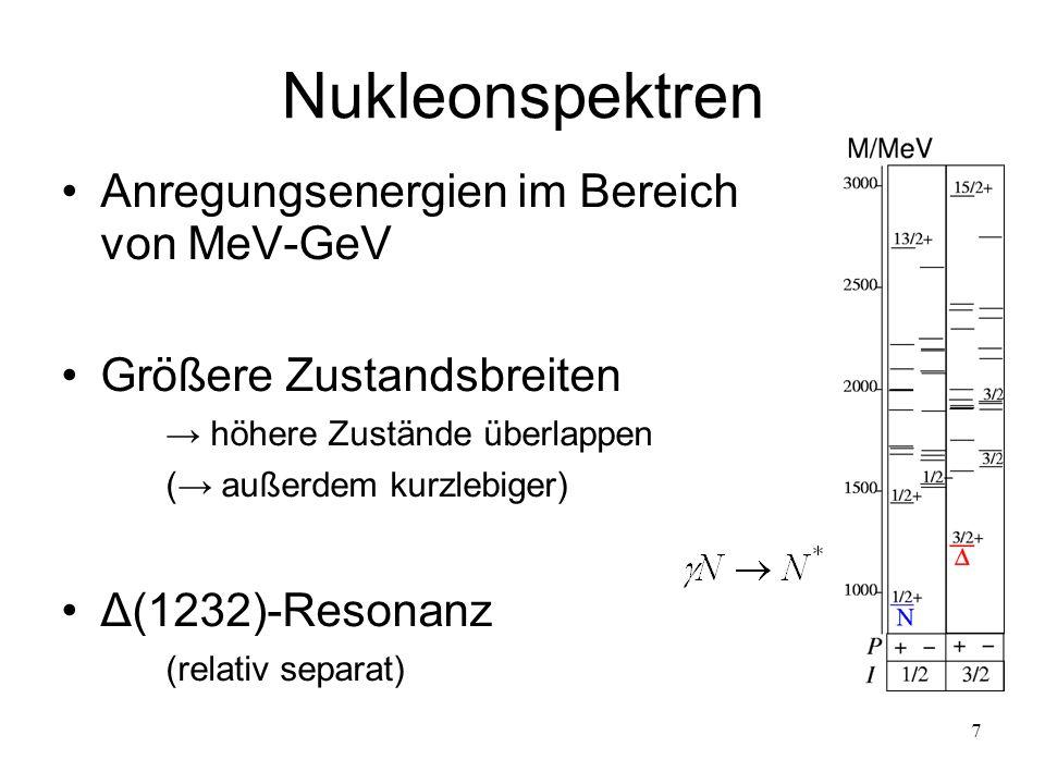 Nukleonspektren Anregungsenergien im Bereich von MeV-GeV