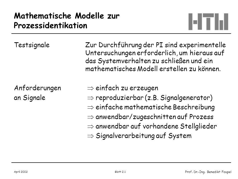 Mathematische Modelle zur Prozessidentikation