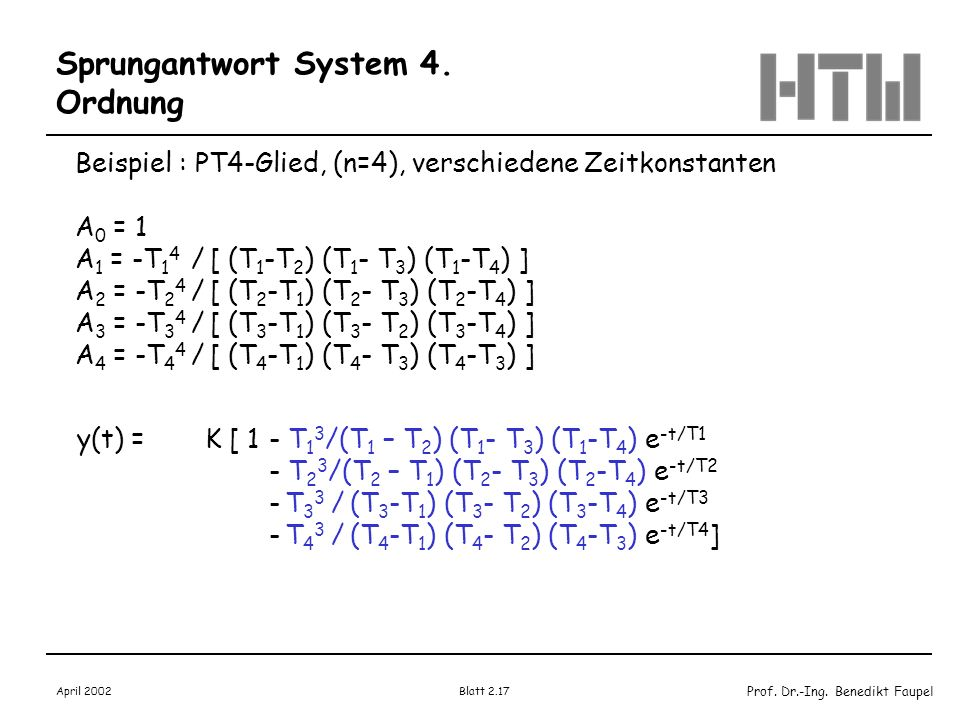 Sprungantwort System 4. Ordnung
