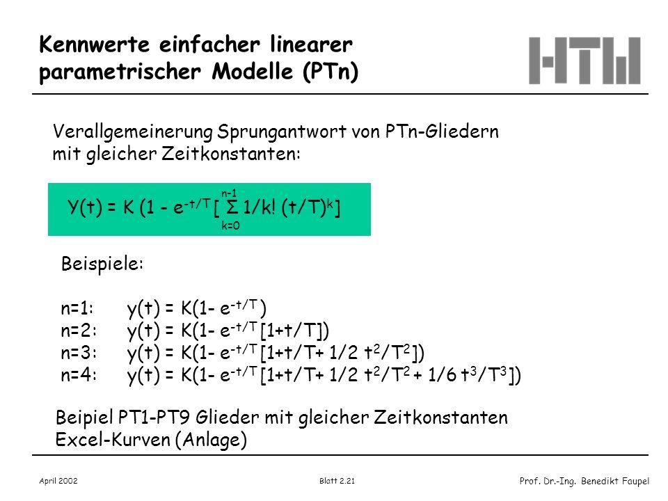 Kennwerte einfacher linearer parametrischer Modelle (PTn)