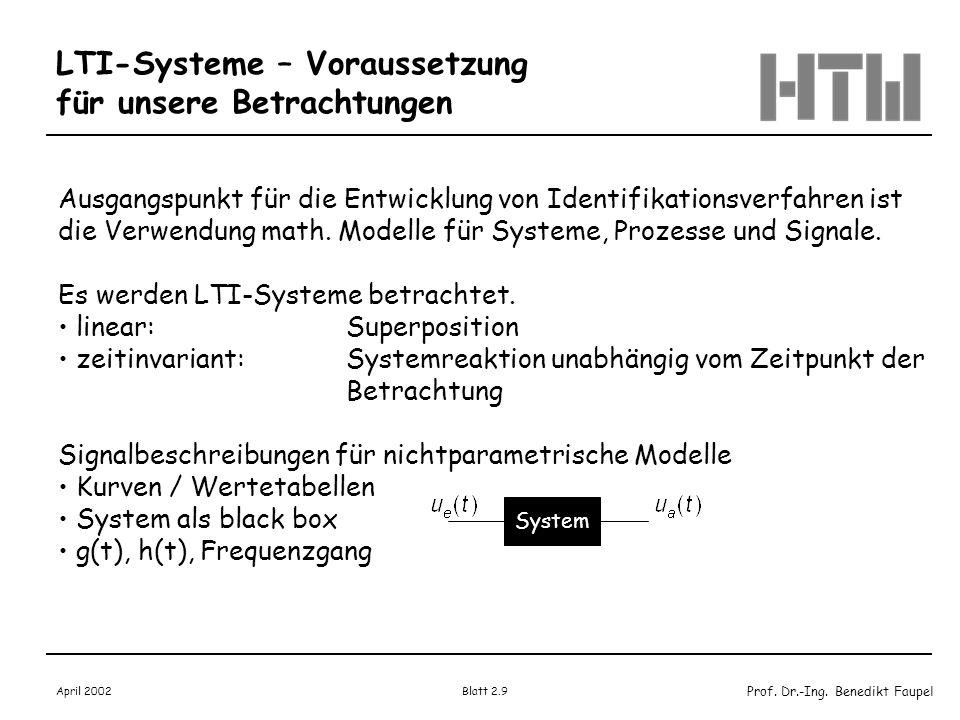 LTI-Systeme – Voraussetzung für unsere Betrachtungen