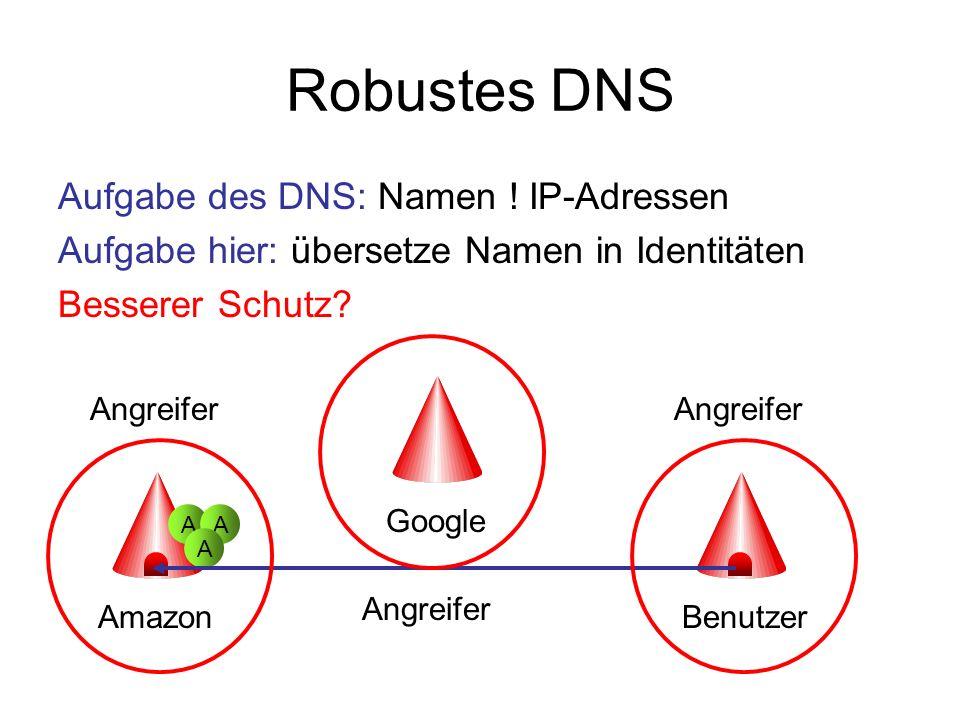 Robustes DNS Aufgabe des DNS: Namen ! IP-Adressen