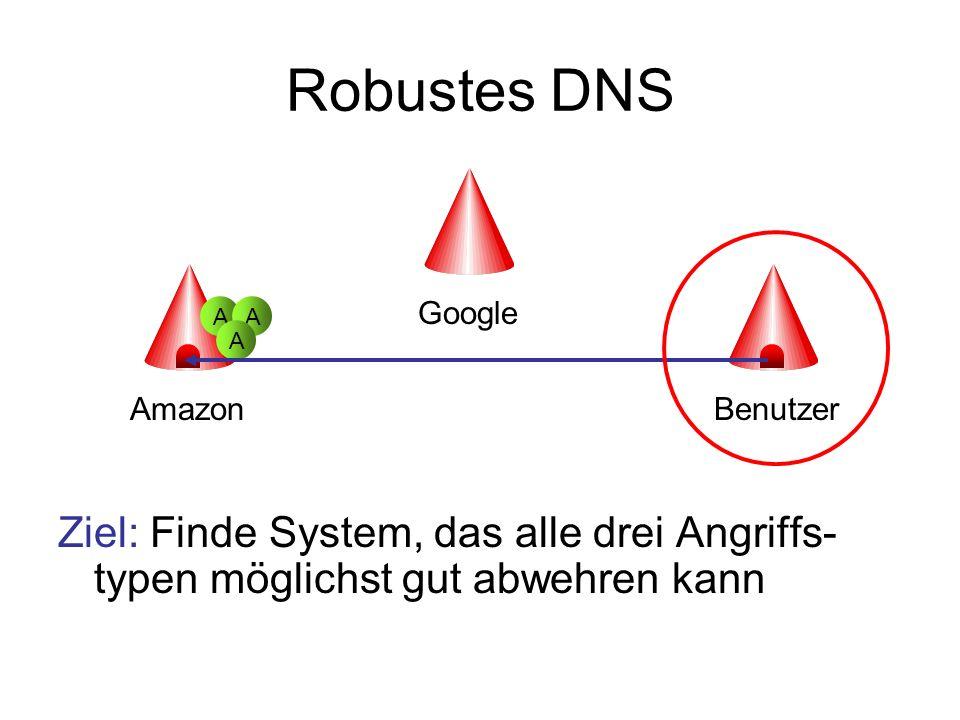 Robustes DNS Ziel: Finde System, das alle drei Angriffs-typen möglichst gut abwehren kann. Google.