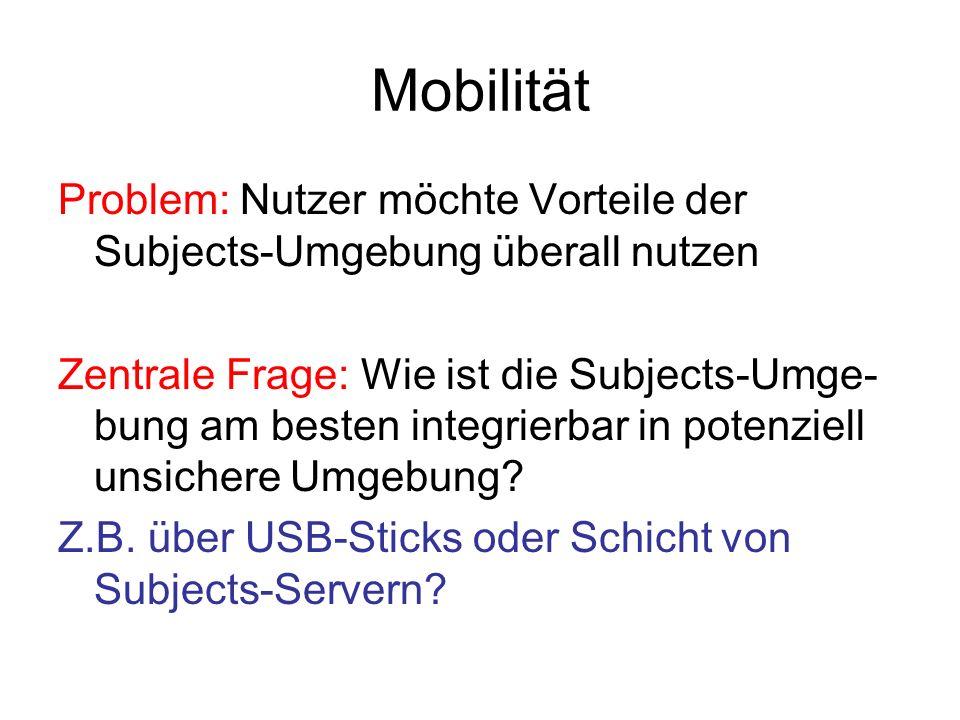 Mobilität Problem: Nutzer möchte Vorteile der Subjects-Umgebung überall nutzen.