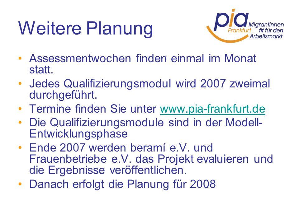 Weitere Planung Assessmentwochen finden einmal im Monat statt.