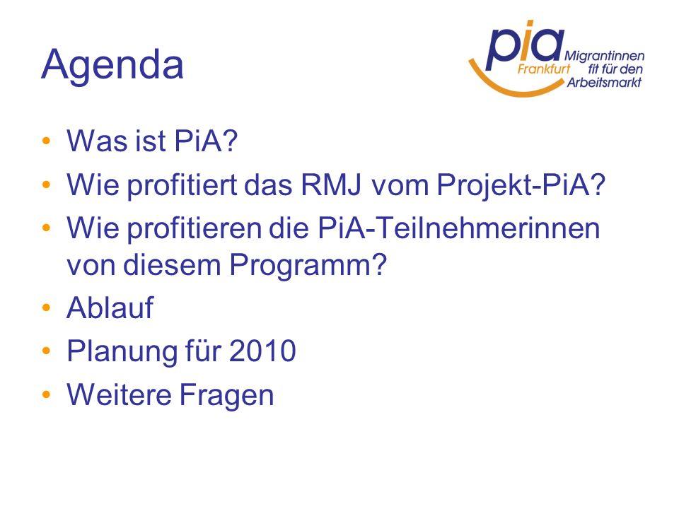Agenda Was ist PiA Wie profitiert das RMJ vom Projekt-PiA