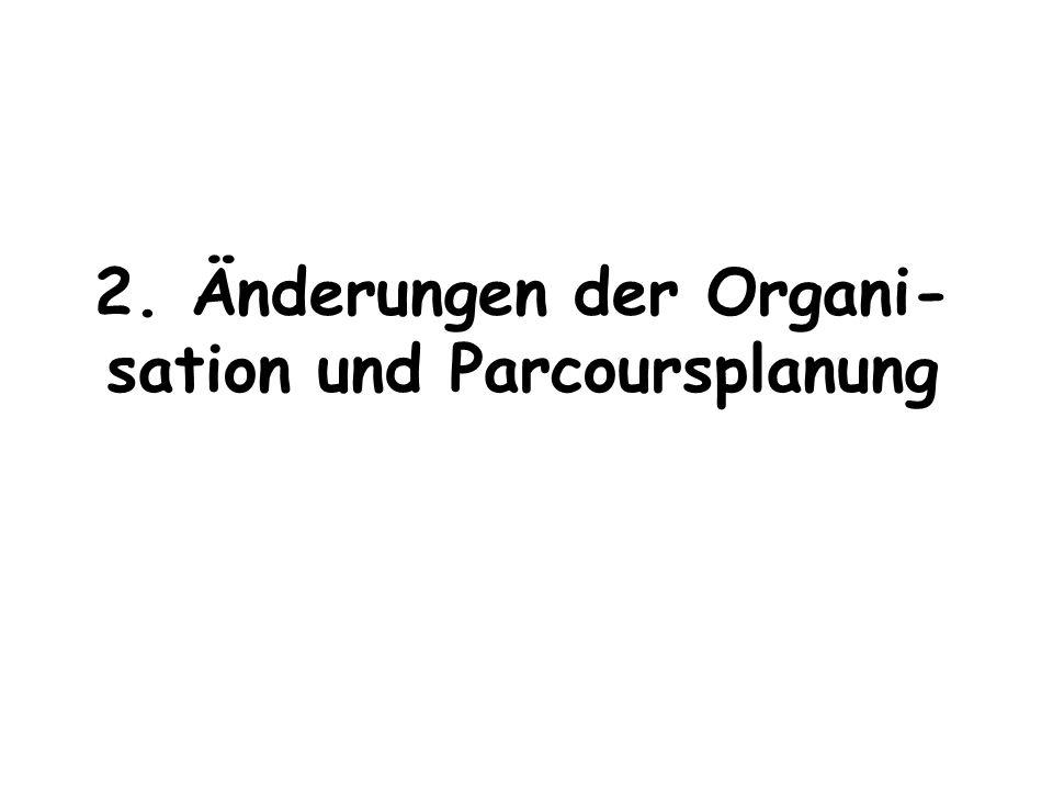 2. Änderungen der Organi-sation und Parcoursplanung