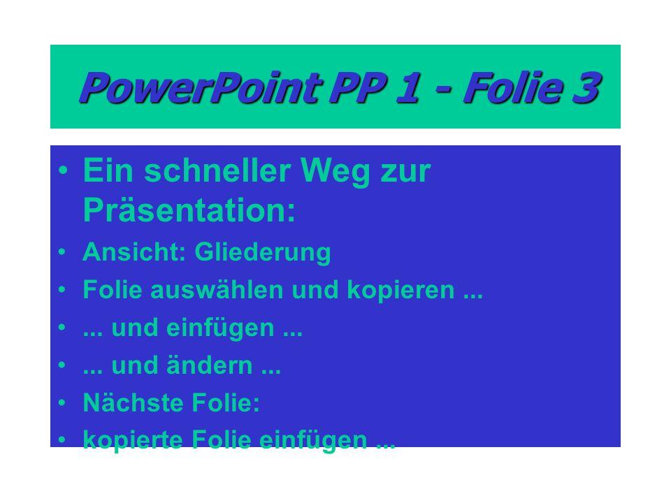PowerPoint PP 1 - Folie 3 Ein schneller Weg zur Präsentation: