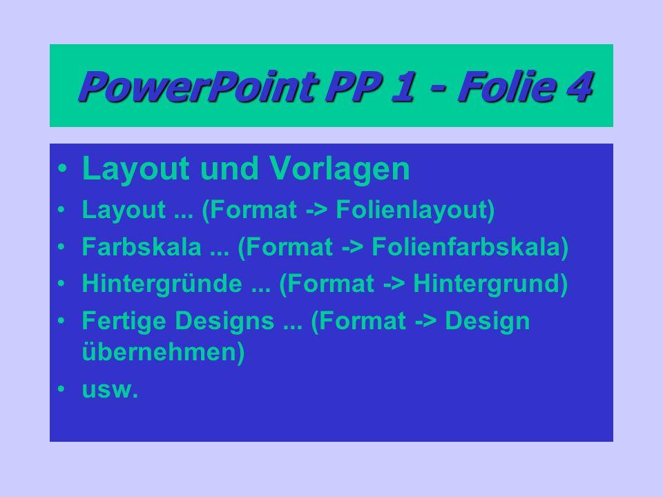 PowerPoint PP 1 - Folie 4 Layout und Vorlagen