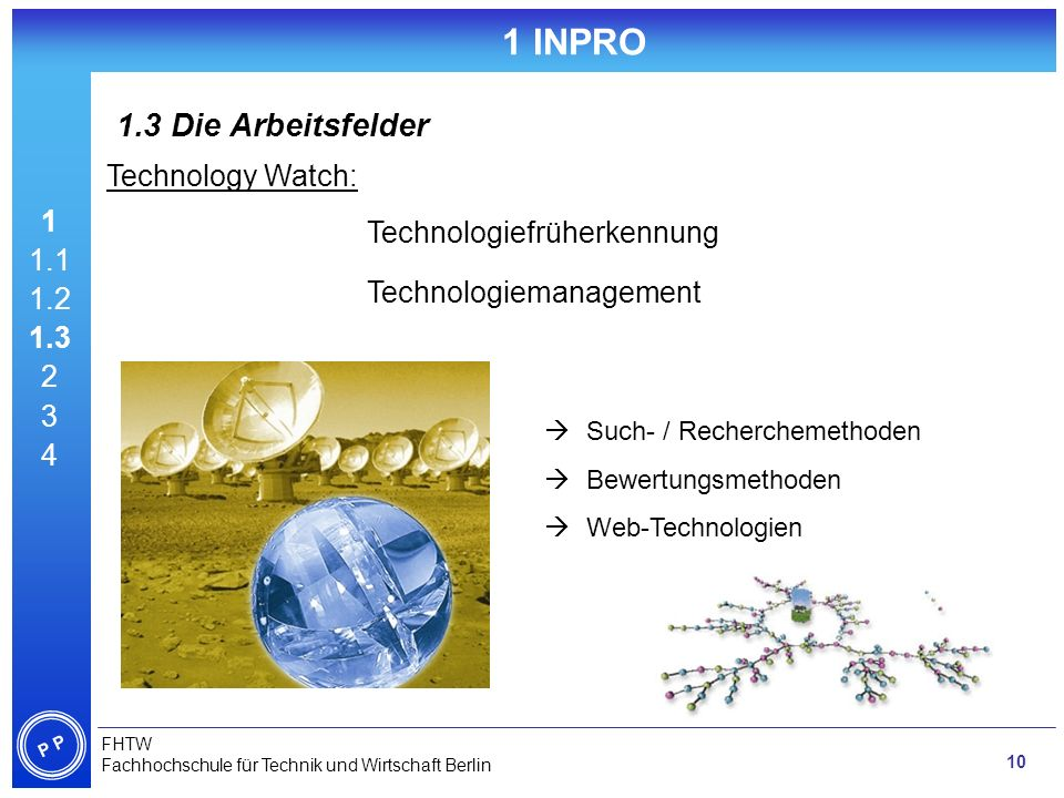 1 INPRO 1.3 Die Arbeitsfelder Technology Watch: