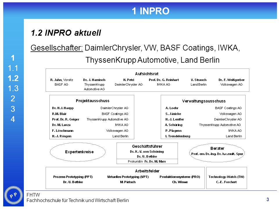 1 INPRO 1.2 INPRO aktuell. Gesellschafter: DaimlerChrysler, VW, BASF Coatings, IWKA, ThyssenKrupp Automotive, Land Berlin.