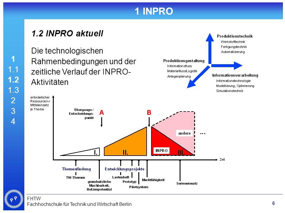 1 INPRO 1.2 INPRO aktuell. 1. 1.1. 1.2. 1.3. 2. 3. 4. Die technologischen Rahmenbedingungen und der zeitliche Verlauf der INPRO-Aktivitäten.
