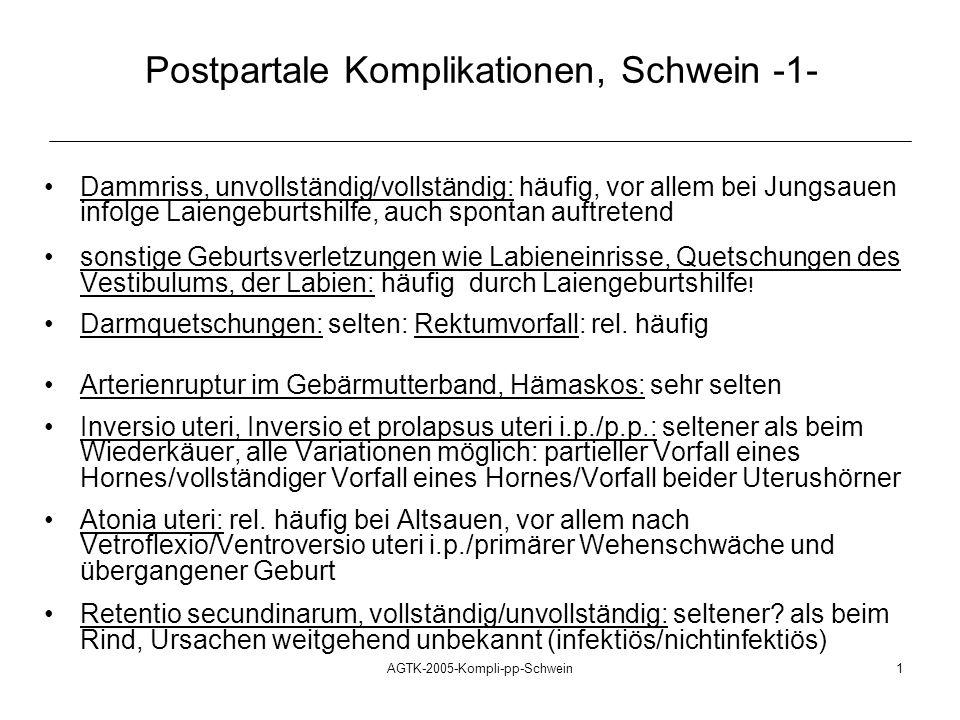Postpartale Komplikationen, Schwein -1-
