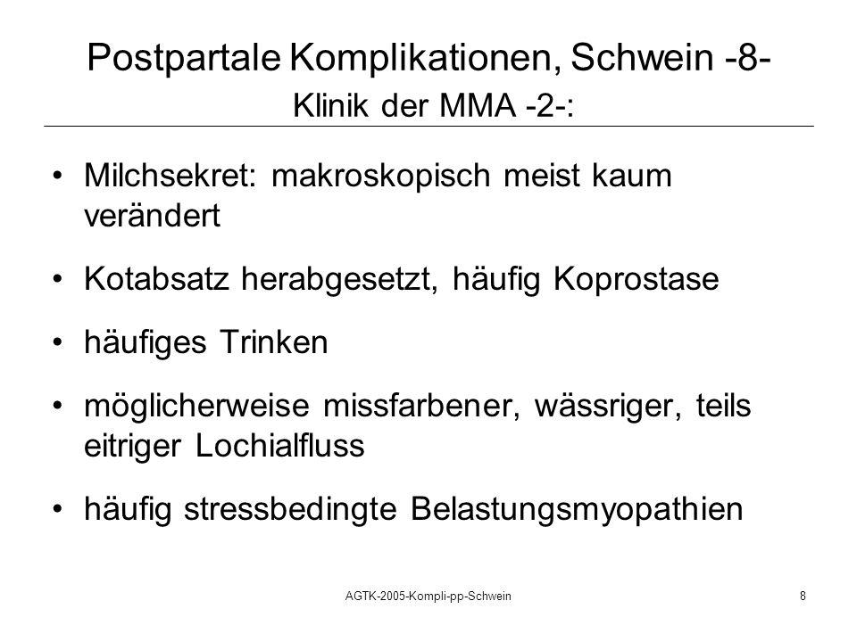 Postpartale Komplikationen, Schwein -8- Klinik der MMA -2-: