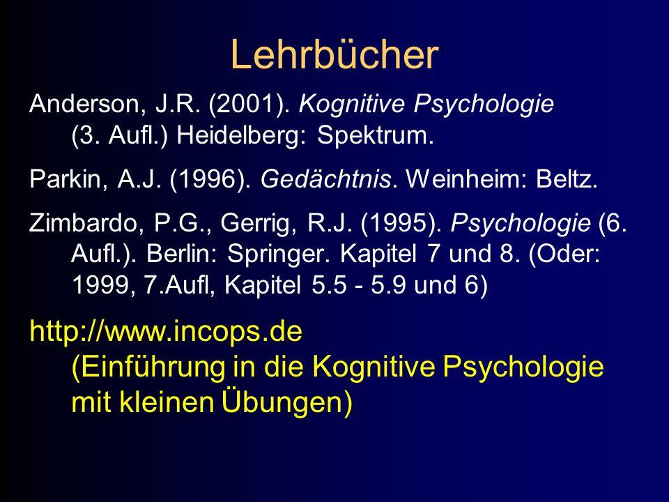Lehrbücher Anderson, J.R. (2001). Kognitive Psychologie (3. Aufl.) Heidelberg: Spektrum. Parkin, A.J. (1996). Gedächtnis. Weinheim: Beltz.