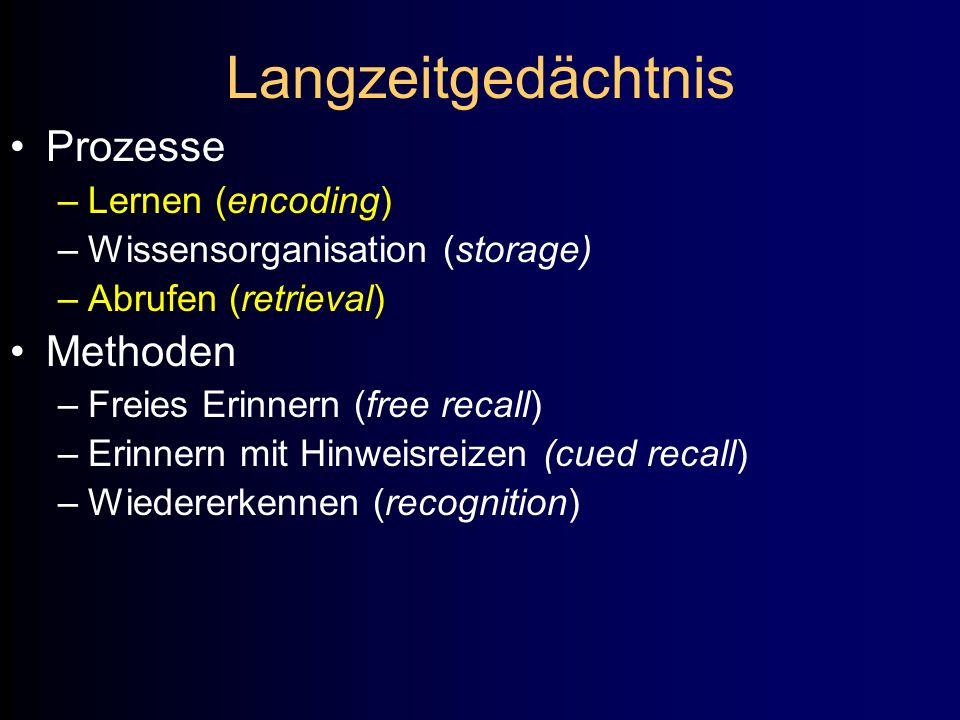 Langzeitgedächtnis Prozesse Methoden Lernen (encoding)