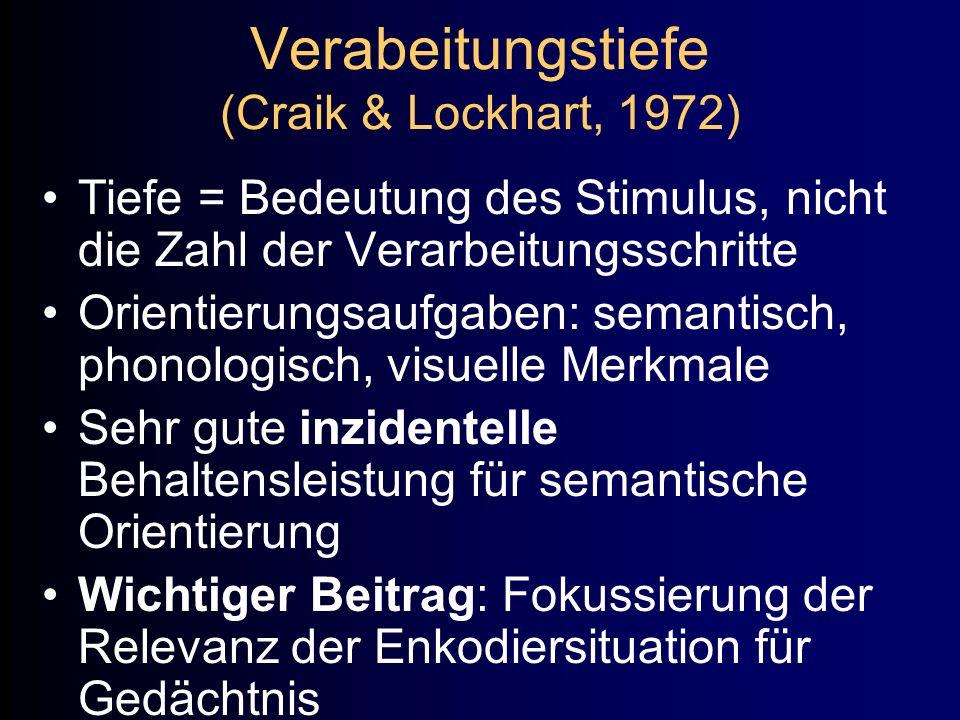 Verabeitungstiefe (Craik & Lockhart, 1972)