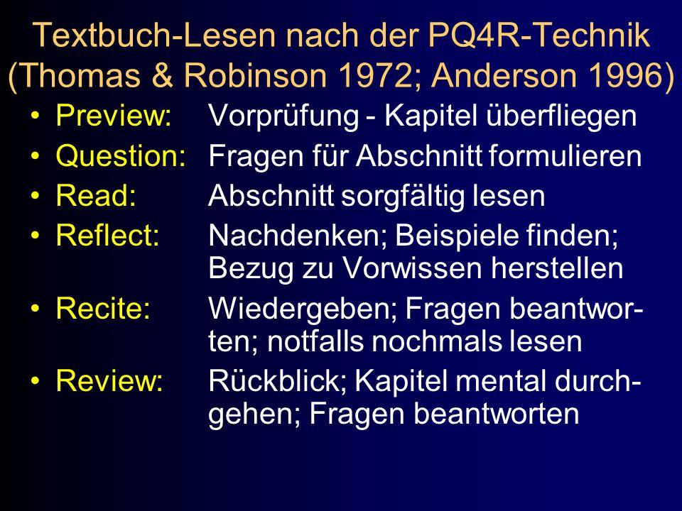 Textbuch-Lesen nach der PQ4R-Technik (Thomas & Robinson 1972; Anderson 1996)