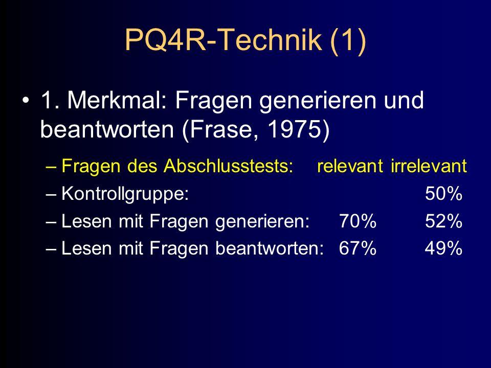 PQ4R-Technik (1) 1. Merkmal: Fragen generieren und beantworten (Frase, 1975) Fragen des Abschlusstests: relevant irrelevant.