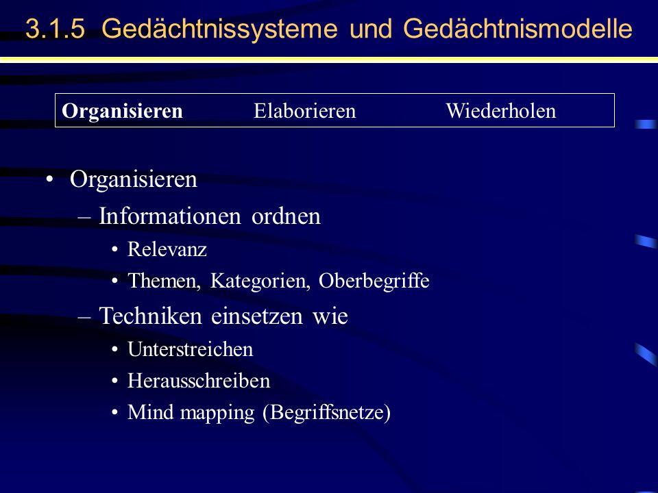 3.1.5 Gedächtnissysteme und Gedächtnismodelle